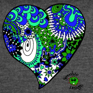 Funky heart design blue green aqua - Women's Vintage Sport T-Shirt