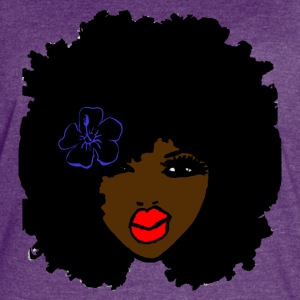Brown skin CurlyAfro NaturalHair Flower Red Lips - Women's Vintage Sport T-Shirt
