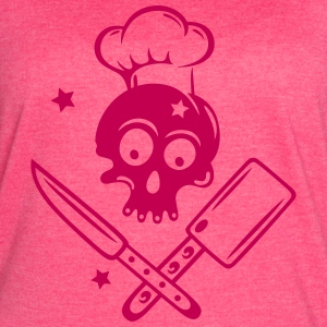 Skull with cooking hat, knives and stars. - Women's Vintage Sport T-Shirt