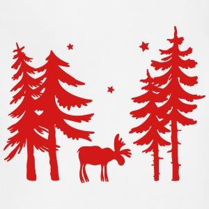 Elk in the forest. Wild with firs and stars. - Adjustable Apron