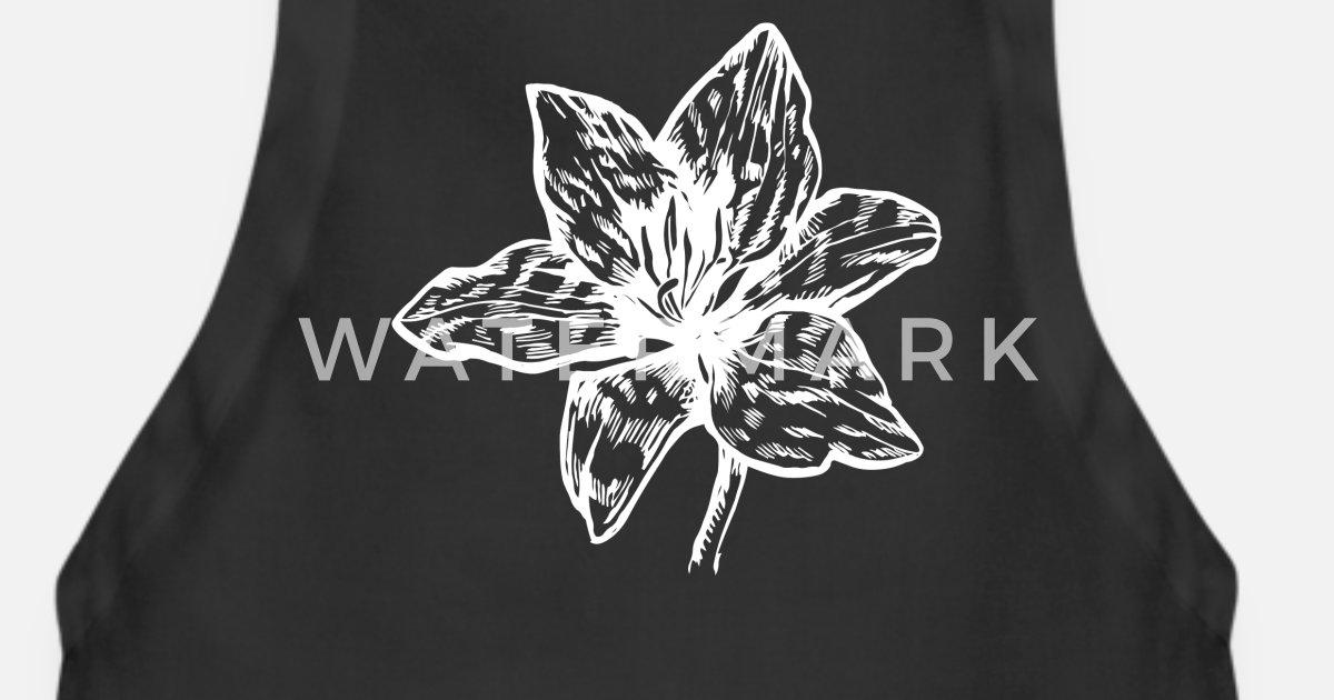 Fleurs Icône Lys Noir Blanc Dessin Tablier Spreadshirt