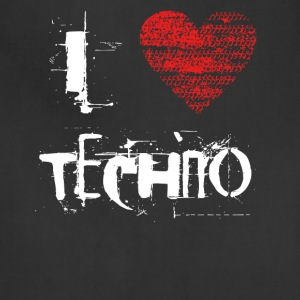 I love techno rave goa hardtek hard - Adjustable Apron
