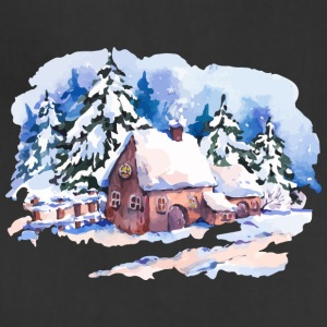 watercolor-landscape-winter-painting-house-trees - Adjustable Apron