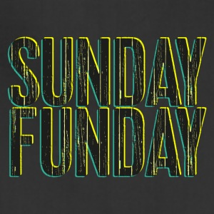Sunday Funday 3D look typeface yellow/turquoise - Adjustable Apron