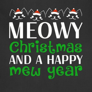 Cat Meowy Christmas And A Happy New Year - Adjustable Apron