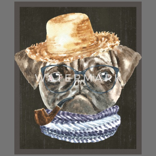 Pug Straw Hat Black Glasses Scarf Pipe Dogs In Clothes Apron ... 2c9a5717672