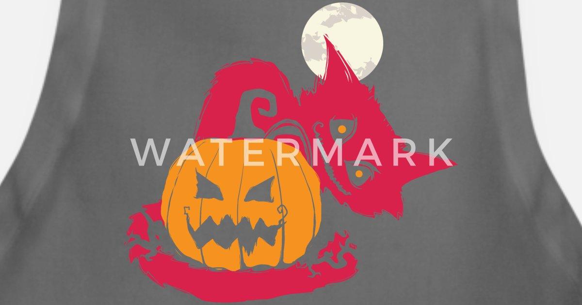Scary Halloween Cat Jack O Lantern Moon Apron Spreadshirt