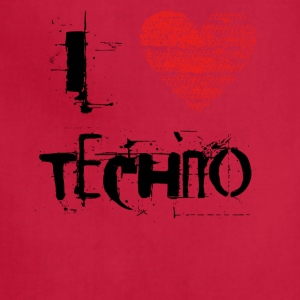 I love techno rave goa hardtek schwarz - Adjustable Apron