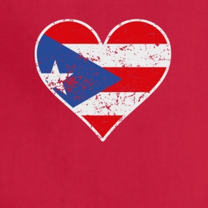 Distressed Puerto Rican Flag Heart - Adjustable Apron
