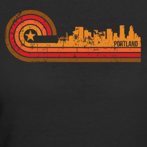 Retro Style Portland Oregon Skyline Distressed - Women's 50/50 T-Shirt