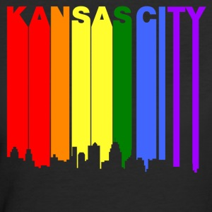 Kansas City Missouri Gay Pride Rainbow Skyline - Women's 50/50 T-Shirt