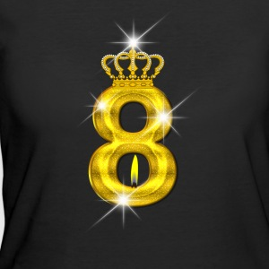 8 - Birthday - Golden Number - Crown - Flame - Women's 50/50 T-Shirt