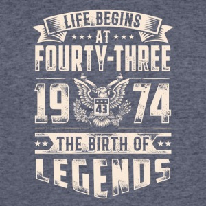 Life Begins at Fourty-Three Legends 1974 for 2017 - Men's 50/50 T-Shirt