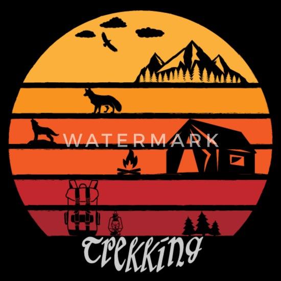02742b450 Vintage & Retro Trekking Camping Hiking Men's Ringer T-Shirt - black/white