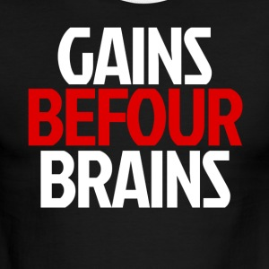 Gains Before Brains (Red) - Men's Ringer T-Shirt