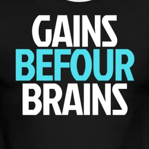 Gains Before Brains (Blue) - Men's Ringer T-Shirt