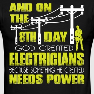 On The 8th Day God Created Electrician T Shirt - Men's Ringer T-Shirt