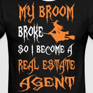 My Broom Broke So I Become A Real Estate Agent - Men's Ringer T-Shirt