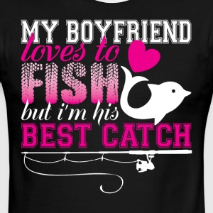 My Boyfriend Loves To Fish T Shirt - Men's Ringer T-Shirt
