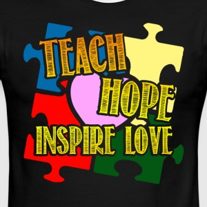 Teach Hope Inspire Love Autism Shirt - Men's Ringer T-Shirt