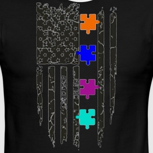 Autism Awareness American Flag - Men's Ringer T-Shirt