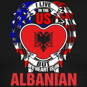 I Live In The Us But My Heart Is In Albanian - Men's Ringer T-Shirt