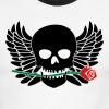 Skull with Wings & Rose 3 Color - Men's Ringer T-Shirt