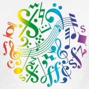 Colorful music notes and signs - Men's Ringer T-Shirt