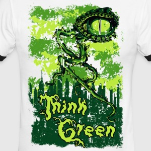 THINK GREEN all eyes on you save our nature - Men's Ringer T-Shirt