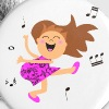 Cute dancing girl cartoon in hot pink dress - Large Buttons