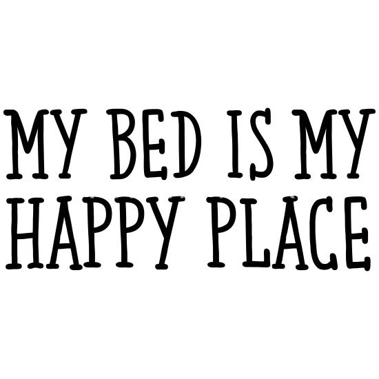 Funny Quote , My Bed Is My Happy Place Buttons small 1\'\' (5-pack) - white