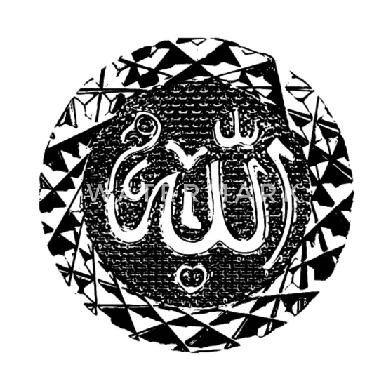 Seal Allah Arabic writing Muslim Islam Arab Buttons small 1'' (5-pack) -  white