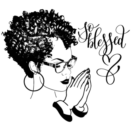 Black Woman Praying Blessed God Quotes Curly Hair Buttons small 1\'\'  (5-pack) - white