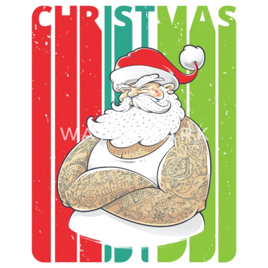 Retro Christmas.Retro Christmas Gifts Tattooed Santa Humorous Buttons Small 1 5 Pack White