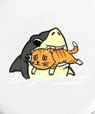 Image of: Eyes Small Buttonsshark Eating Kitten Tshirt Funny Cute Cartoon Spreadshirt Shark Eating Kitten Tshirt Funny Cute Cartoon Small Buttons