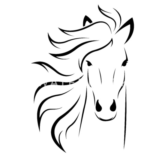 Horse Face Drawing Outline Small Buttons Spreadshirt