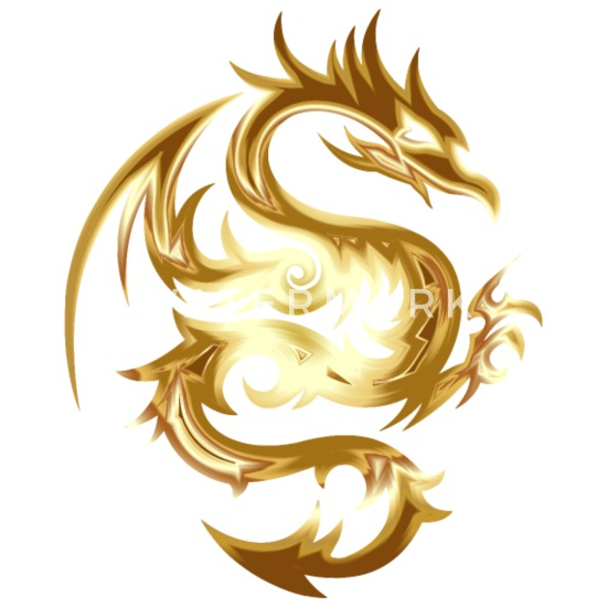 Golden dragon Buttons small 1'' (5-pack) - white