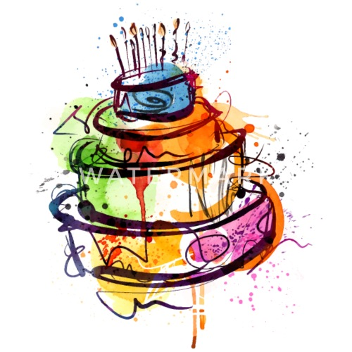 Cool Birthday Cake Candles Sketch Vector Image Fun Small Buttons