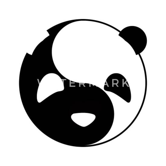 Yin Yang Panda Light & Dark Balance Tai Chi Symbol Buttons small 1''  (5-pack) - white