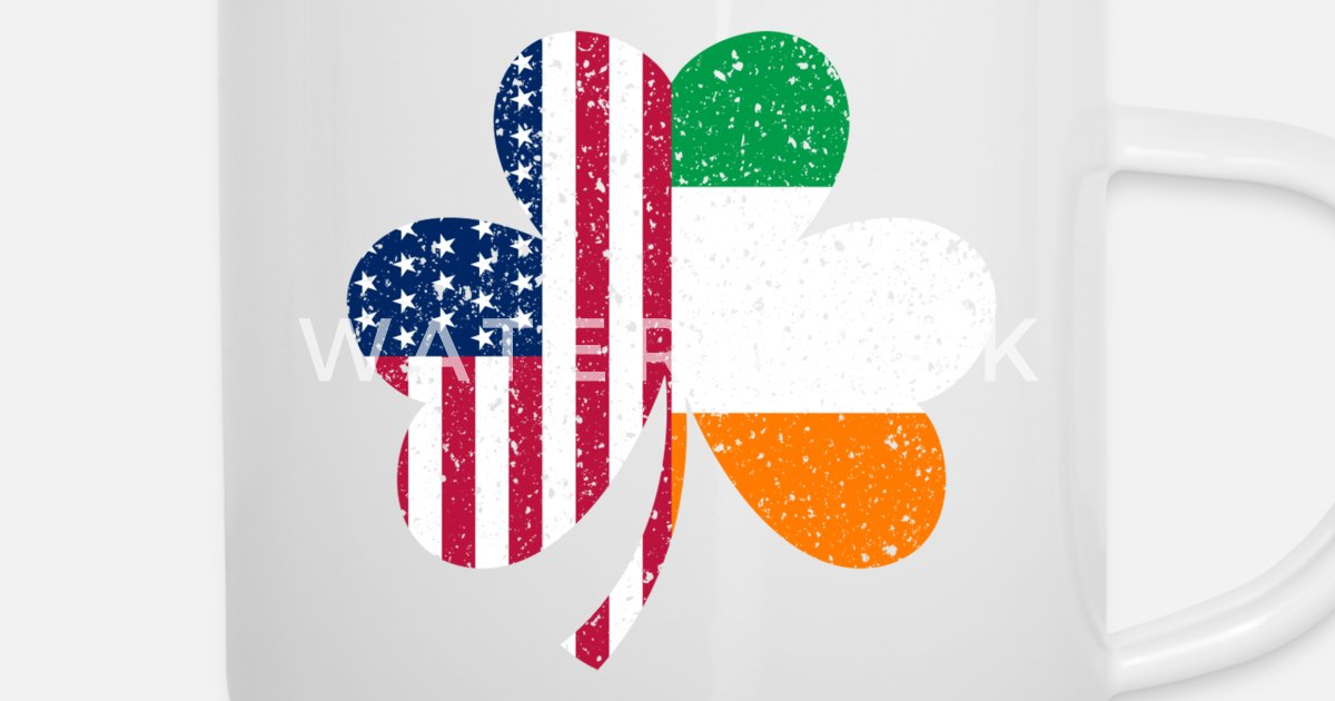 547e87a75d1bb Irish American Flag Ireland Shamrock St Patricks D Enamel Mug ...