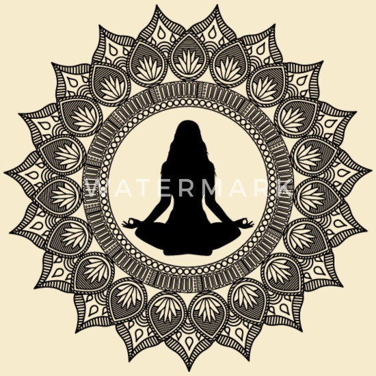 lotus om mandala  print Cotton  shoulder bag drawstring