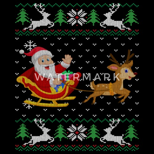 4849969050988 Cute Santa Ugly Christmas Sweater Gift Rudolph Tee Baby Cap ...