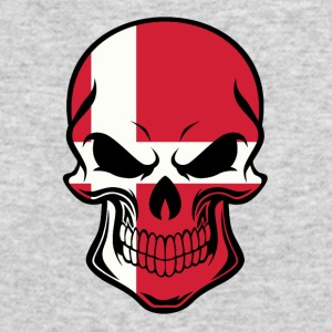 Danish Flag Skull - Men's Long Sleeve T-Shirt by Next Level