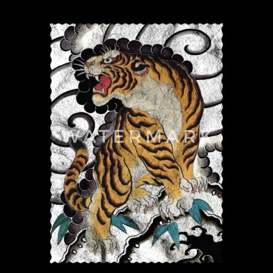 Yak Tiger Kids Long Sleeve T-Shirt Asian Chinese Japan Tattoo Artist Samurai