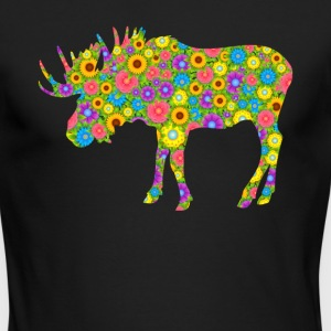 Moose Flower Shirt - Men's Long Sleeve T-Shirt by Next Level