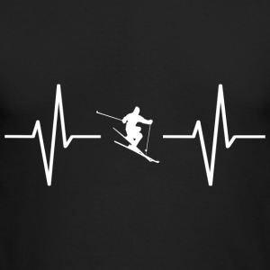 My heart beats for skiing! gift - Men's Long Sleeve T-Shirt by Next Level
