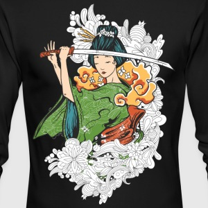 Japanese woman with Samurai sword - Men's Long Sleeve T-Shirt by Next Level