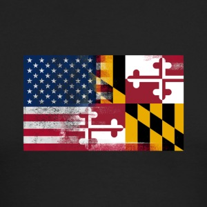 Maryland American Flag Fusion - Men's Long Sleeve T-Shirt by Next Level