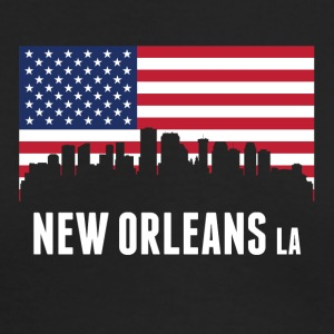 American Flag New Orleans Skyline - Men's Long Sleeve T-Shirt by Next Level