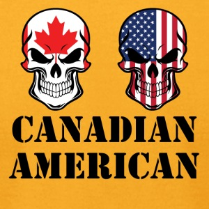 Canadian American Flag Skulls - Men's T-Shirt by American Apparel